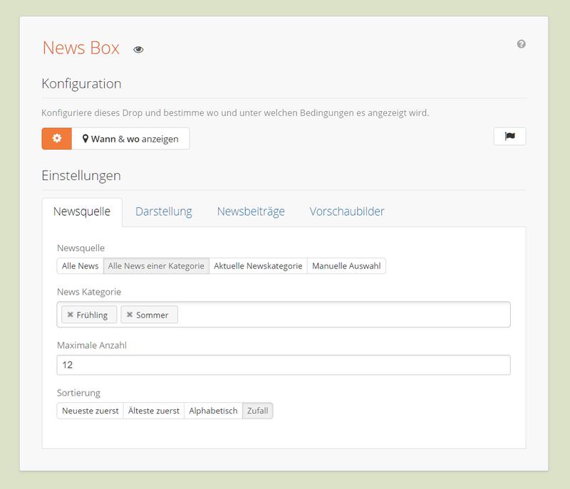 News Box Backend Einstellungen - Auswahl der Newsquelle