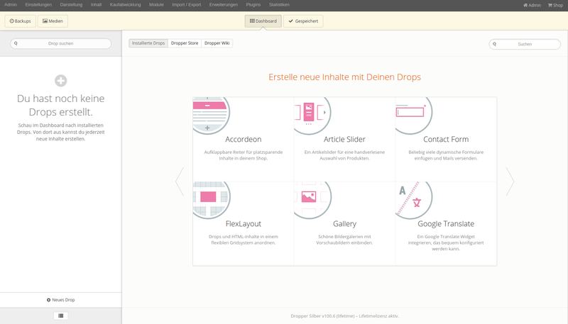 Dropper Dashboard im Backend