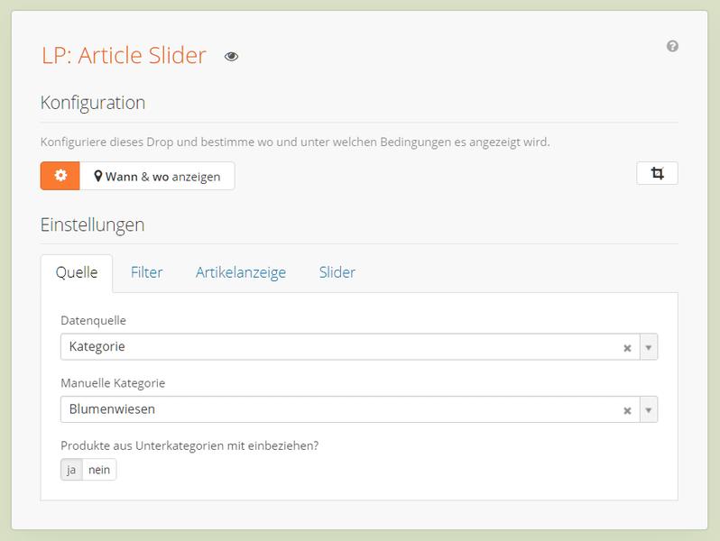 Article Slider Einstieg - Quellenauswahl Kategorie