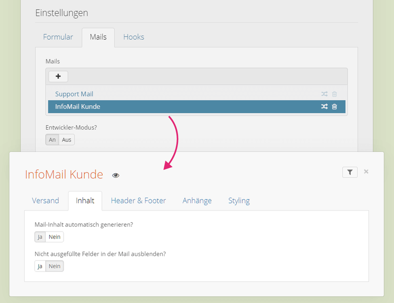Mail Konfiguration im Contact Form Backend