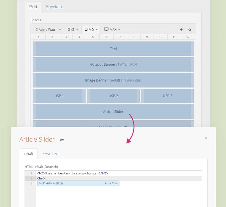 Flex Layout Space mit Content (HTML + verlinktes Drop)