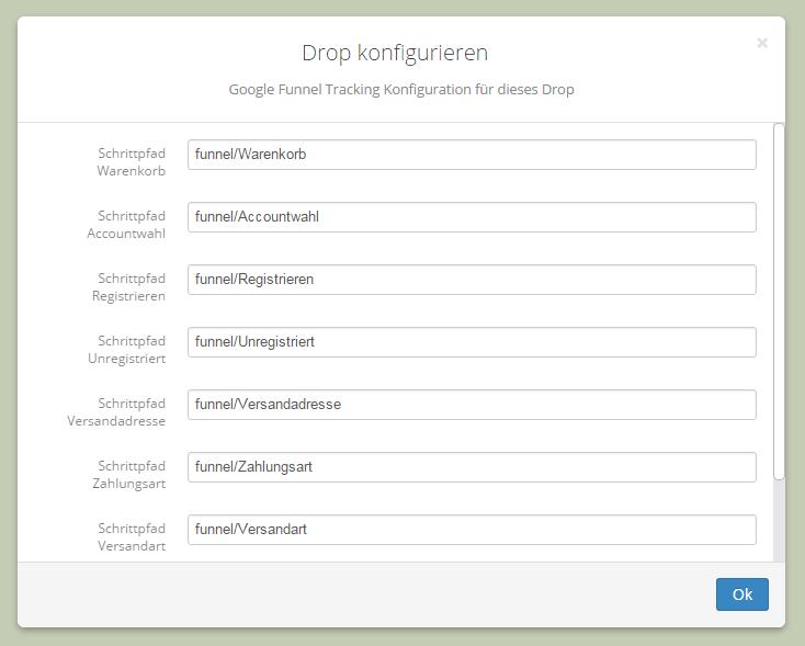Konfiguration des Drops im Backend mit Voreinstellungen