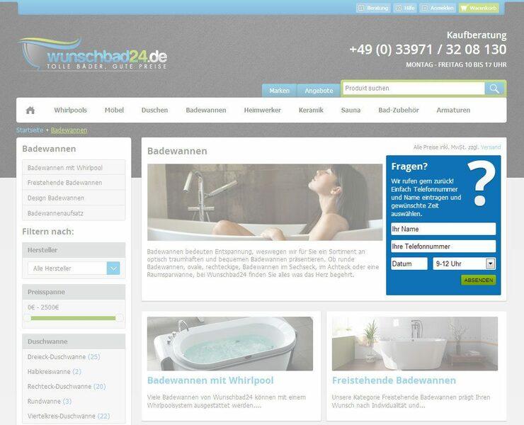 Wunschbad24 Kategorieseite