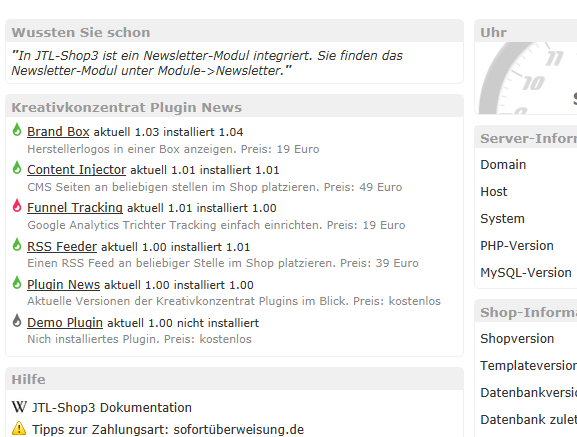 Plugin News Widget im JTL Shop Dashboard