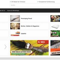 Flex Menu aufgeklappt, mit Kategorie- und Herstellerlisten in verschiedenen Templates.