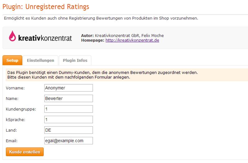 Unregistered Ratings | JTL Shop Plugin - Kreativkonzentrat Store