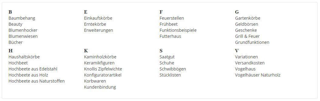 Unterkategorien im Flex Menu als Index