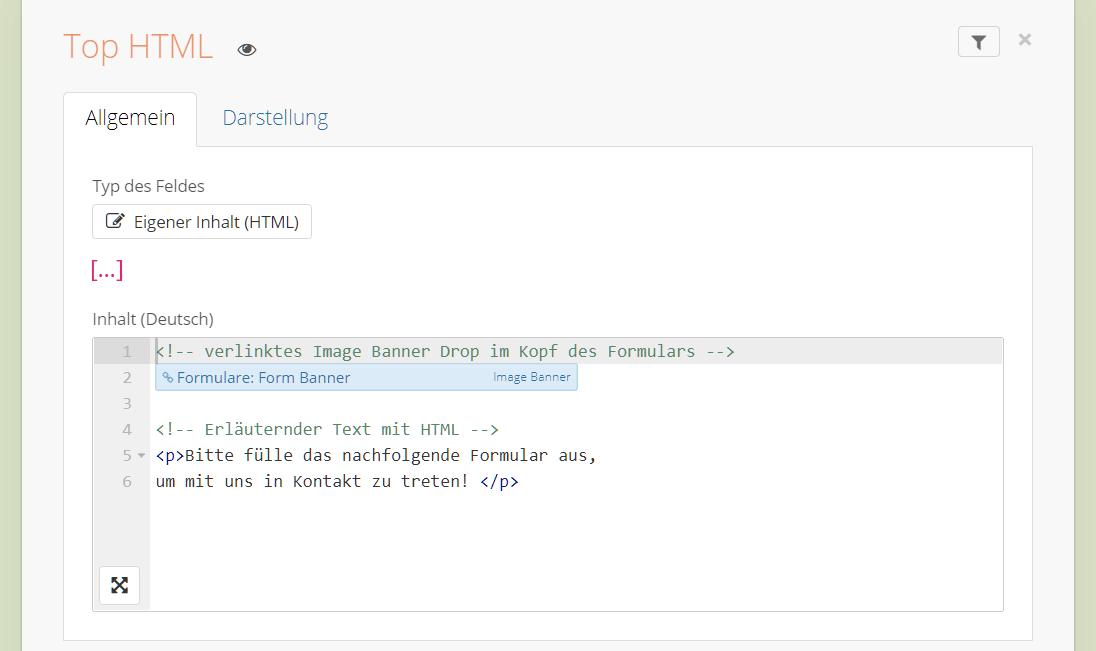 Verlinktes Drop und HTML in einem Formular