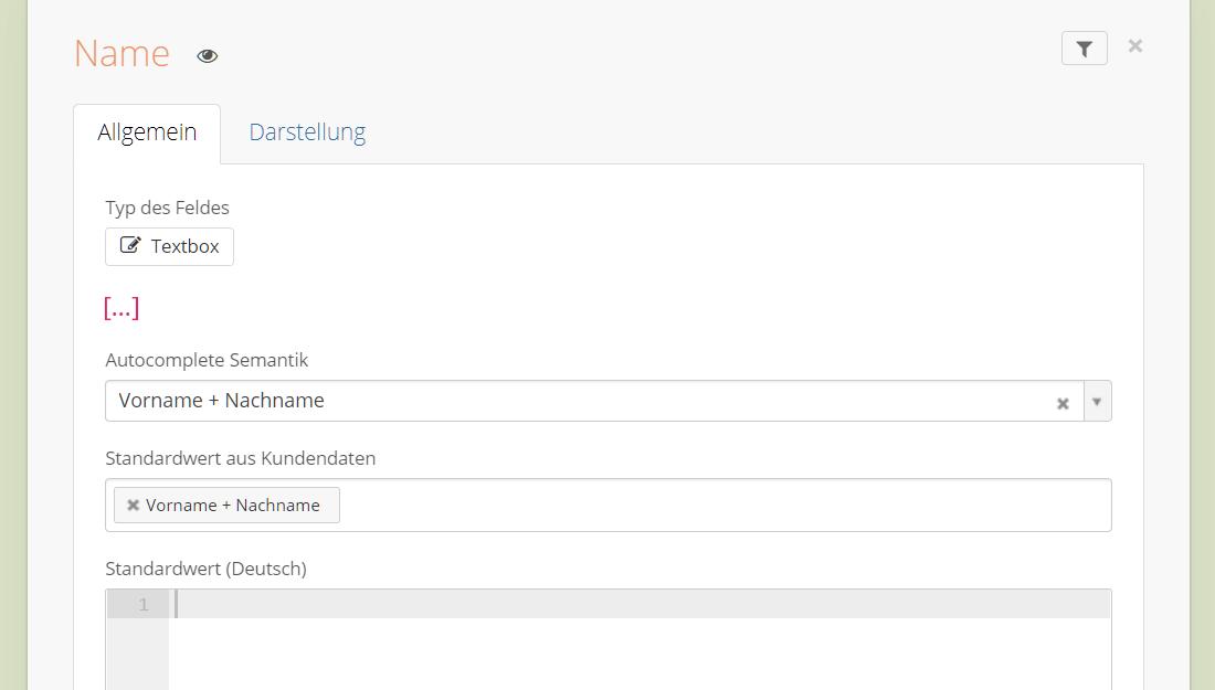 Autocomplete Optionen im Contact Form Drop