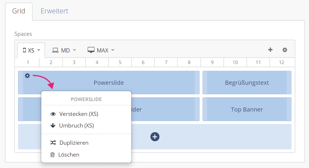 Aktionen mit Grid Spaces im Flex Layout