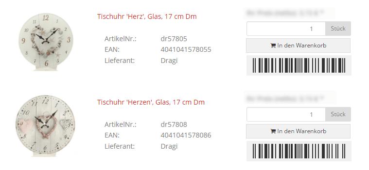 Barcodes in der Artikelliste des JTL-Shops