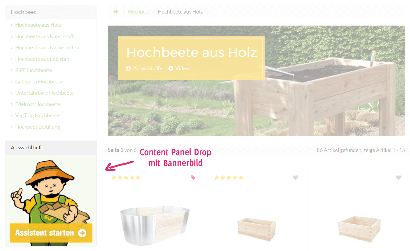 Banner mit Content Panel Drop in der Sidebar