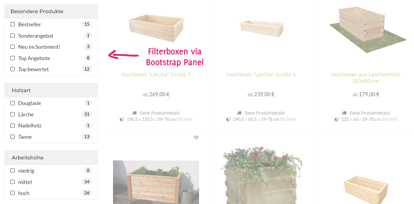 Merkmalfilter im JTL-Shop mit Bootstrap Panels