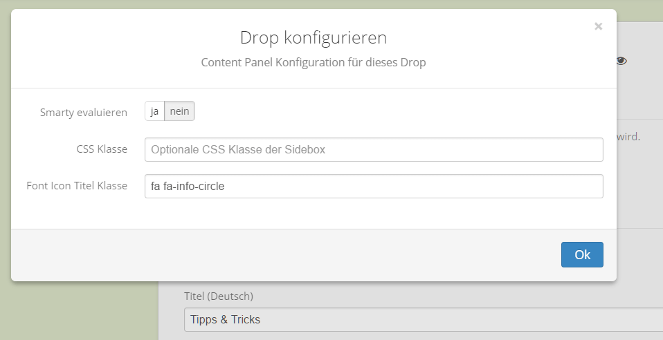 Font Icon Option in der Konfiguration des Content Panel Drops