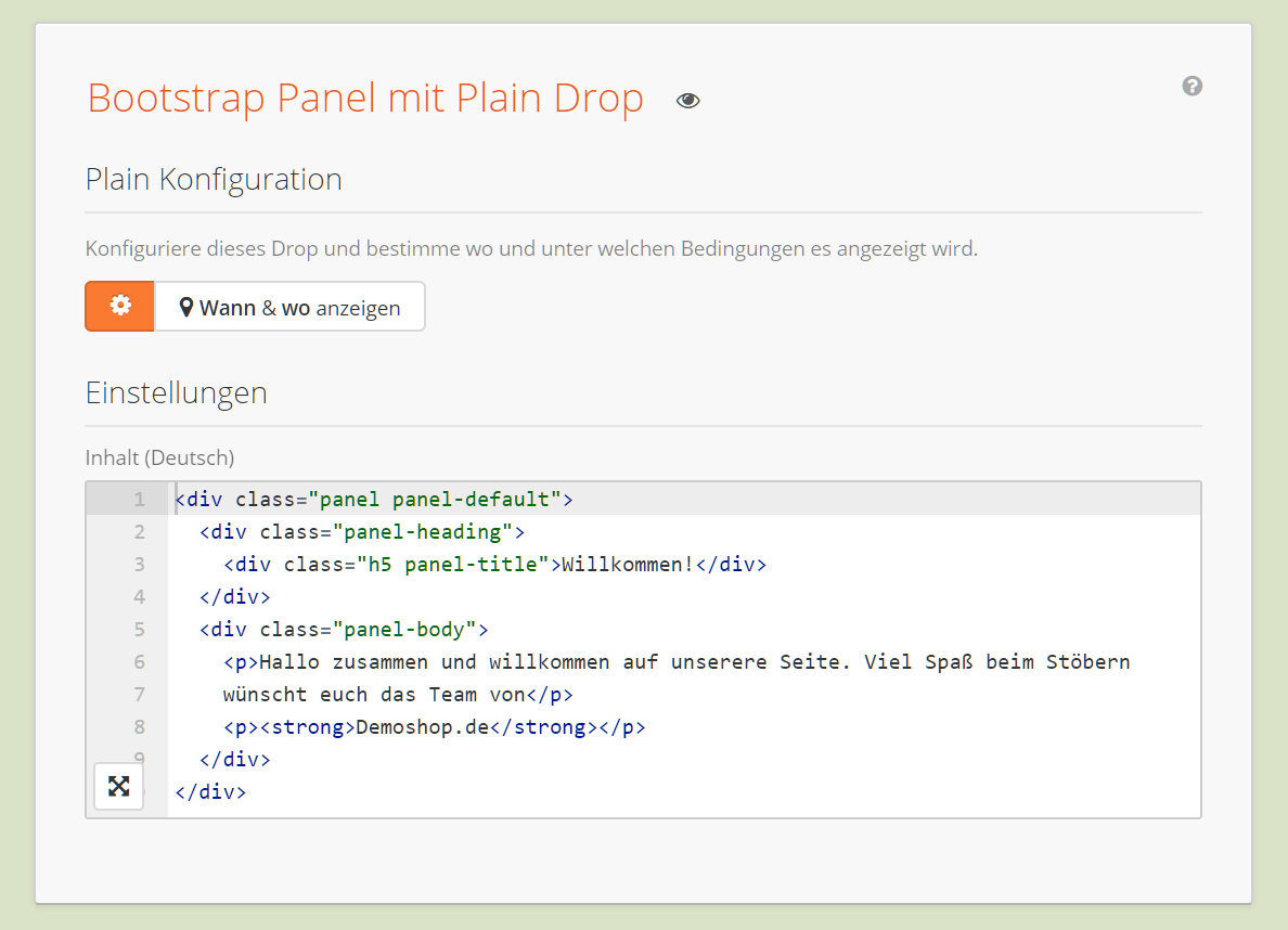 Bootstrap Panel via Plain Drop