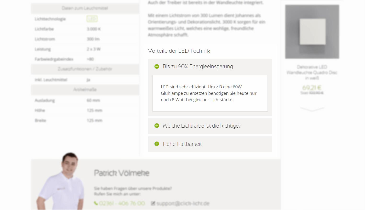 Accordeon in einer Produktdetailseite bei click-licht.de