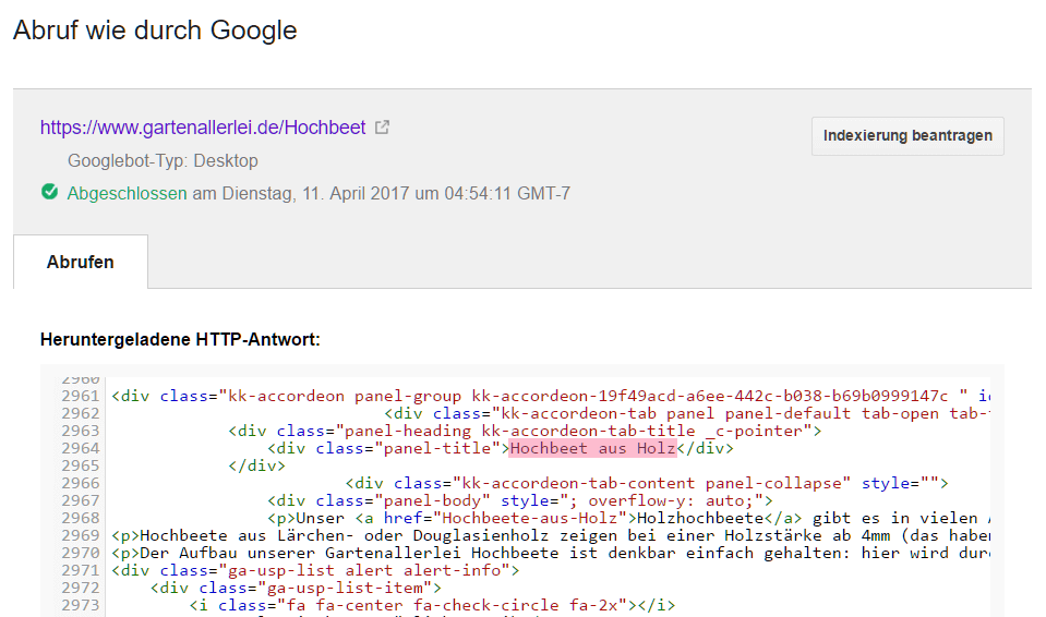 Accordeoninhalt in der Google Search Console