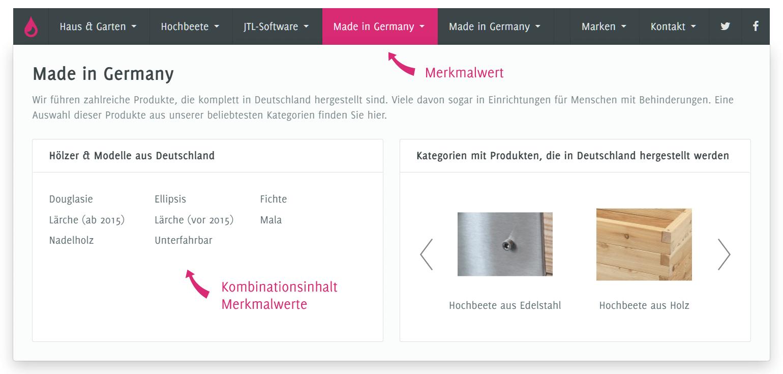 Flex Menu mit Merkmalfilter Kombiinhalt