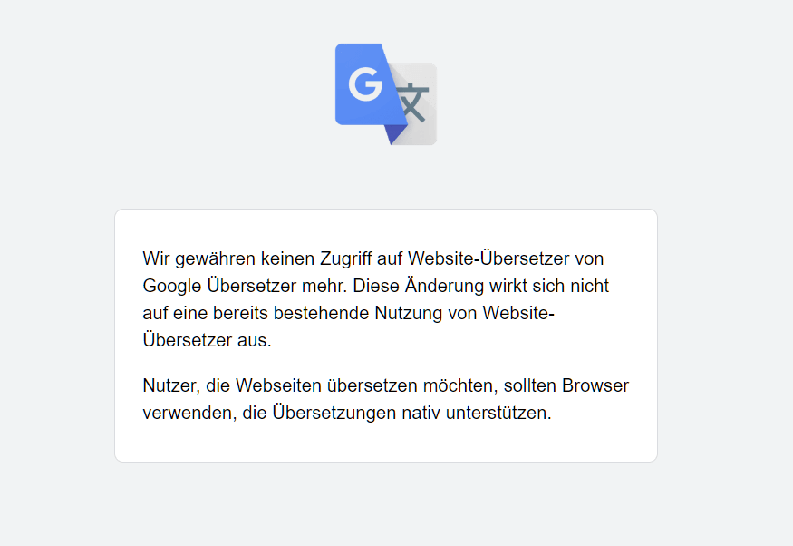Googles Website Übersetzer wurde eingestellt