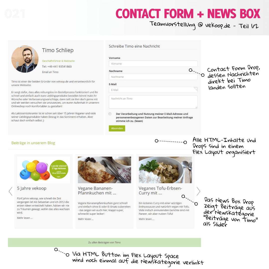 Contact Form und News Box @ vekoop