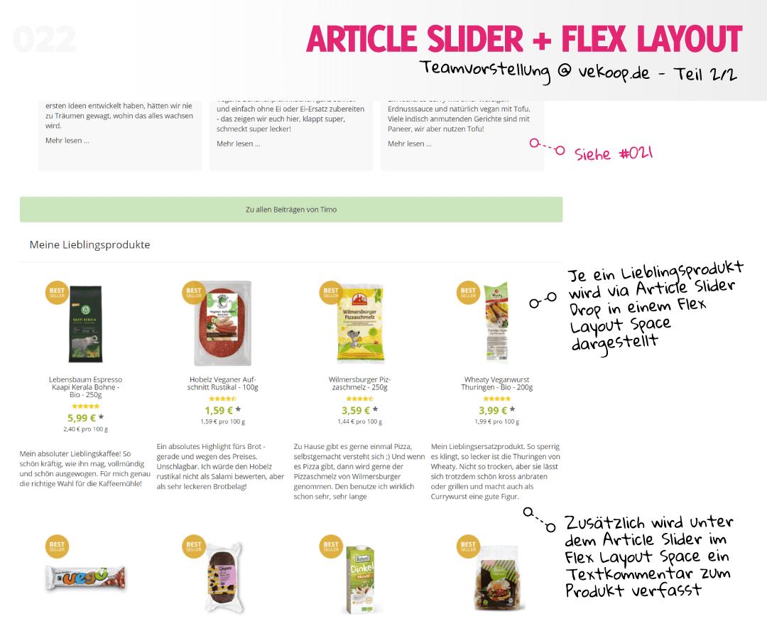 Artikel Slider und Flex Layout @ vekoop