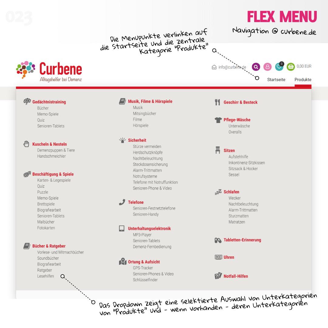 Flex Menu auf curbene.de