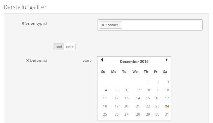 Darstellungsfiler Kontakt kombiniert mit Datum