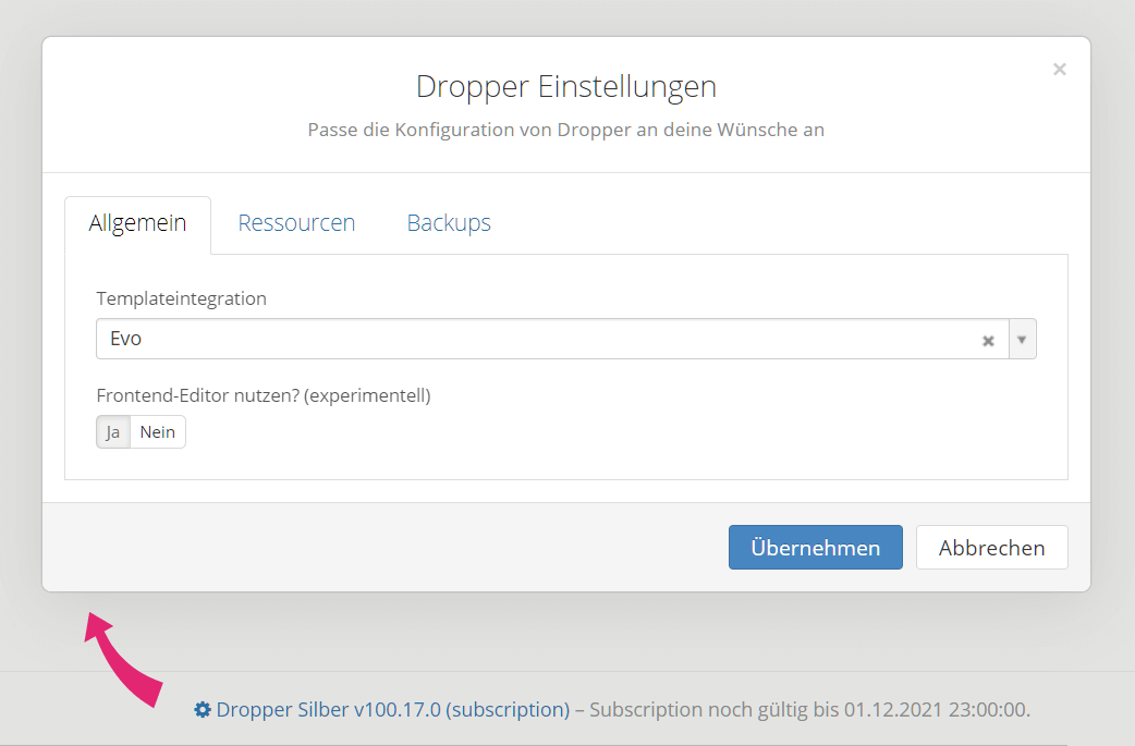 Dropper Einstellungen via Dashboard