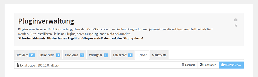 Dropper via Direktupload im JTL-Shop 4 Backend installieren
