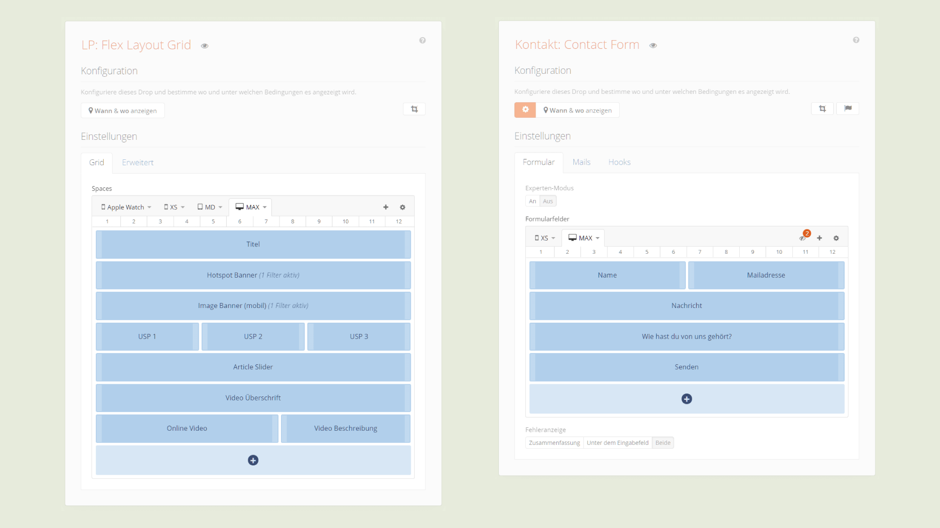 Grid Control im Flex Layout (links) und Contact Form (rechts)